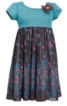 Little-Girls Brown/Multi Stripe Knit to Paisley Border Print Dress , BO3BU, B...