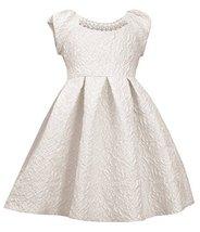 Little Girls Ivory Metallic Brocade Pearl Neckline Fit Flare Dress, IO2BA, Iv...