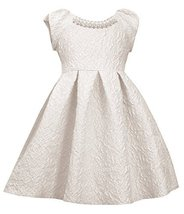 Little Girls Ivory Metallic Brocade Pearl Neckline Fit Flare Dress, IO2BU, Iv...