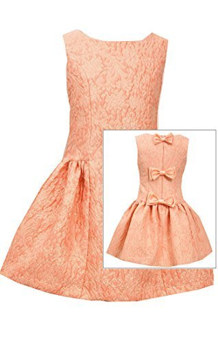 Little Girls 2T-6X Coral Back Bow Metallic Brocade Drop Waist Dress, Bonnie J...