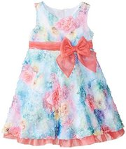 Little Girls 2T-6X Fuchsia Blue Multi Die Cut Floral Print Mesh Overlay Dress... image 1