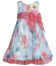 Little Girls 2T-6X Fuchsia Blue Multi Die Cut Floral Print Mesh Overlay Dress... image 2