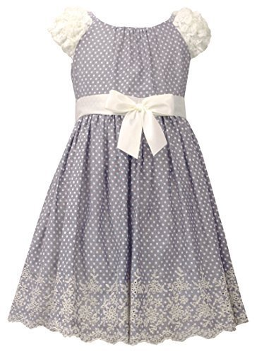 Little Girls 4-6X Embroidered Eyelet Border Dot Print Chambray Dress, Bonnie ...