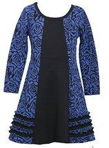 Bonnie Jean Little Girls 2T-6X Royal-Blue Floral Jacquard Colorblock Knit Dre...