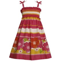 Size-6X BNJ-3374M FUCHSIA-PINK YELLOW STRIPE and FLORAL BORDER PRINT SMOCKED ... image 1