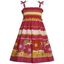 Size-6X BNJ-3374M FUCHSIA-PINK YELLOW STRIPE and FLORAL BORDER PRINT SMOCKED ... image 2
