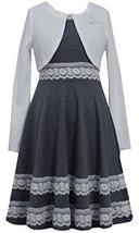 Bonnie Jean Big Girls Tween Grey/White Lace Border Knit Dress/Jacket Set (7, ... image 1