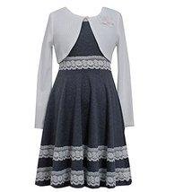 Bonnie Jean Big Girls Tween Grey/White Lace Border Knit Dress/Jacket Set (7, ... image 2