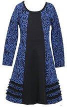 Bonnie Jean Little Girls 2T-6X Royal-Blue Floral Jacquard Colorblock Knit Dre... image 2