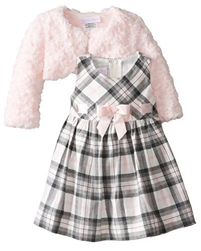 Bonnie Baby-Girls Infant Plaid Dress with Pink Fur Jacket (4T, Pink/Grey)