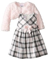 Bonnie Baby-Girls Infant Plaid Dress with Pink Fur Jacket (4T, Pink/Grey) image 1