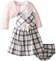 Bonnie Baby-Girls Infant Plaid Dress with Pink Fur Jacket (4T, Pink/Grey) image 2