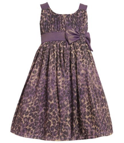 Size-5 BNJ-3376X Purple Glitter Animal Print Emma Dress,X33376 Bonnie Jean LI...