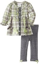 Bonnie Baby Girls' Plaid To French Terry Legging Set, Sage, 12 Months [Apparel]