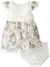 Baby-Girls 3M-24M Ivory Grey Quilted Floral Lace Overlay Dress (0-3 Months, I...