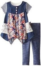 Baby Girls Blue Chambray Mix Media Hanky Hem Dress/Legging Set (3-6 Months, B...