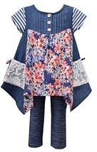 Baby Girls Infant 12M-24M Blue Mix Media Colorblock Knit Legging Pants Set, B...