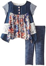 Baby Girls Blue Chambray Mix Media Hanky Hem Dress/Legging Set (24 Months, Blue)