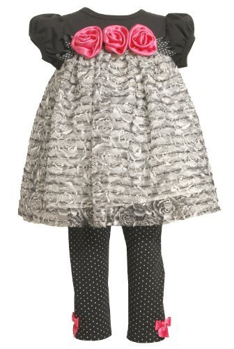 Bonnie Baby Baby-Girls Newborn Knit Bodice With Ruffles And Satin Flowers Wit...