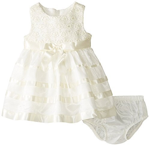 Baby Girls Ivory Lace And Ribbon Mesh Overlay Dress, Bonnie Baby, Ivory, 6/9M