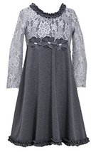 Bonnie Jean Little-Girls 2T-6X Spangle Foil Dot Lace to Knit Dress (2T, Silver)