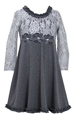 Bonnie Jean Little Girls Toddler 2T-4T Spangle Foil Dot Lace to Knit Dress, S...
