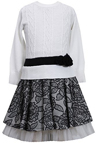 Bonnie Jean Girls' Cable Knit Dress with Lace Skirt SPBW3, Black/White [Apparel]