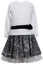 Bonnie Jean Girls' Cable Knit Dress with Lace Skirt SPBW3, Black/White [Apparel] image 1