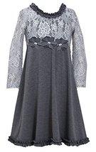 Bonnie Jean Little-Girls 2T-6X Spangle Foil Dot Lace to Knit Dress (3T, Silver) image 2