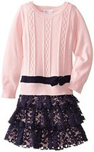 Bonnie Jean Girls' Cable Knit Dress with Lace Skirt SAPK3, Pink/Navy [Apparel] image 1