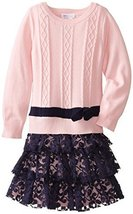 Bonnie Jean Girls' Cable Knit Dress with Lace Skirt SAPK3, Pink/Navy [Apparel] image 2
