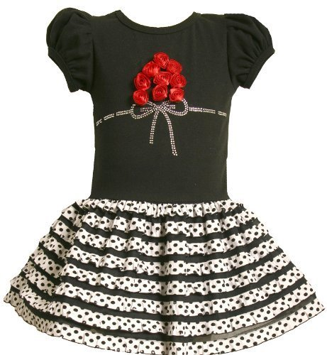 Bonnie Jean Little Girls' Knit Bodice To Ruffle Knit Dot Skirt,Black,2 [Apparel]
