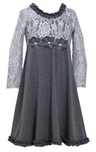 Bonnie Jean Little Girls 4-6X Spangle Foil Dot Lace to Knit Dress, Silver, 6X