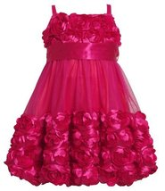 Size-2T BNJ-5396X FUCHSIA DIE CUT ROSETTE BORDER BUBBLE MESH OVERLAY Special ... image 1