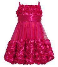 Size-2T BNJ-5396X FUCHSIA DIE CUT ROSETTE BORDER BUBBLE MESH OVERLAY Special ... image 2