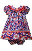 Baby Girls Purple/Multi Twin Floral Print Knit Trapeze Dress, Bonnie Baby, Pu...