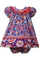 Baby Girls Newborn 3M-9M Purple Multi Floral Ruffle U-Neck Knit Dress, Bonnie...