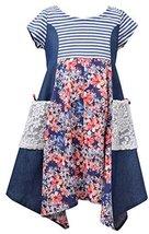 Little Girls 4-6X Blue/Multi Mix Media Panel Shark Bite Hem Fit Flare Dress, ...