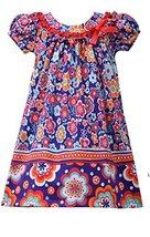 Little Girls 2T-4T Purple/Multi Twin Floral Print Knit Trapeze Dress, Bonnie ...