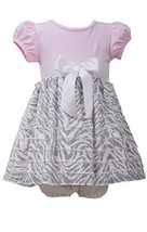 Baby Girls 3M-9M Pink/Grey Knit to Spangle Zebra Stripe Eyelash Ruffles Dress...