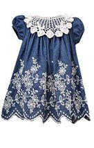 Little Girls Blue/Ivory Embroidered Denim Dress, BU2BA, Blue, Bonnie Jean, TD...