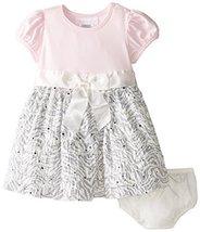 Baby Girls 3M-24M Pink Knit to Spangled Zebra Eyelash Dress (0-3 Months, Pink) image 2