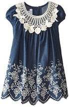 Bonnie Jean Little Girls' Embroidered Denim Border Dress, Blue, 3T [Apparel]