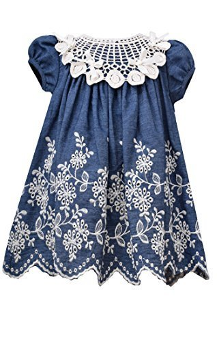 Little Girls Blue/Ivory Embroidered Denim Dress, BU2BU, Blue, Bonnie Jean, TD...