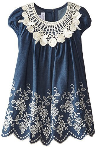 Bonnie Jean Little Girls' Embroidered Denim Border Dress, Blue, 4T [Apparel]