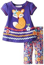 Baby Girls Infant Purple Floral Fox Applique Knit Legging Pants Set (24 Month... image 2