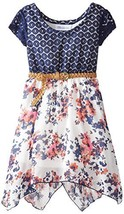 Bonnie Jean Little Girls' Dress Lace To Floral Chiffon Belted Skirt, Blue, 4