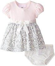Baby Girls 3M-24M Pink Knit to Spangled Zebra Eyelash Dress (12 Months, Pink)