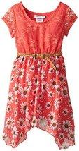 Little-Girls 2T-6X Lace to Chevron Stripe Print Chiffon Hanky Hem Dress (4, B... image 2