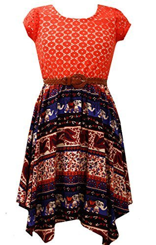 Little Girls Orange/Purple Belted Lace to Tribal Print Hanky Hem Dress, OA3SP...